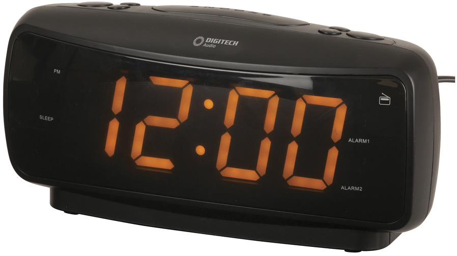 Photo of a large digit alarm clock with AM and FM radio.