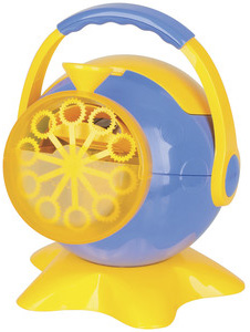 Photo of a portable battery operated bubble machine.