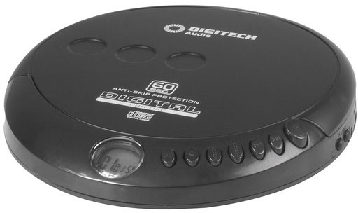 Photo of a portable CD player with a sixty second anti-shock feature.