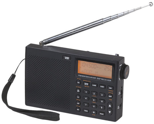 Photo of a compact world band radio with single sideband modulation (SSB).
