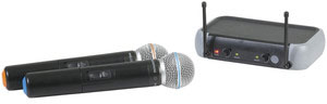 Photo of a dual wireless UHF microphone system.