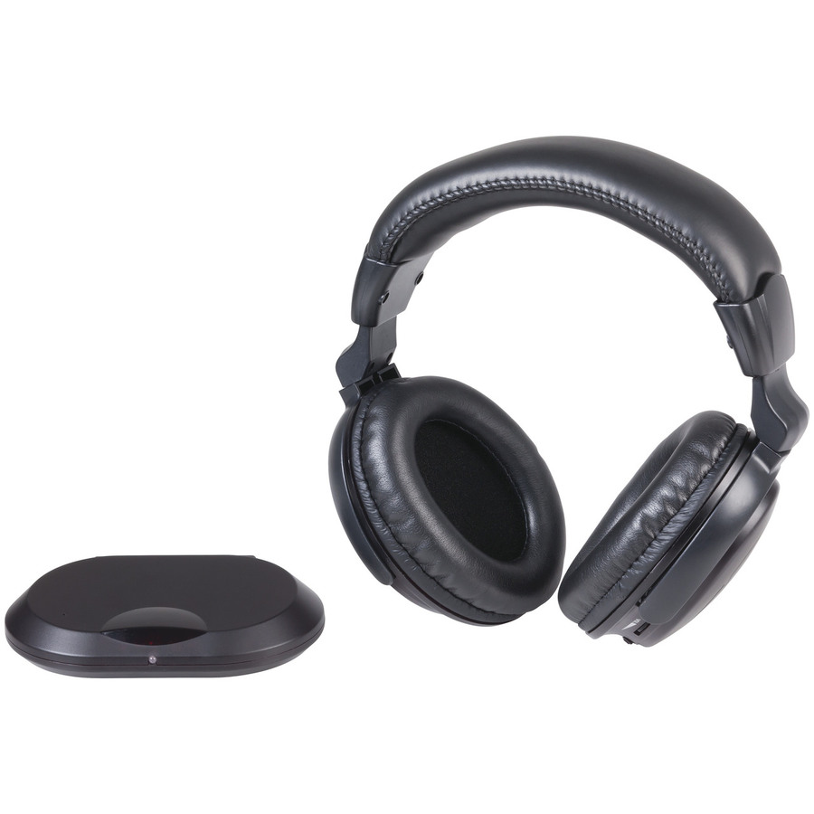 Photo of a pair of headphones and a transmitter from a twin pack of wireless infrared headphones.