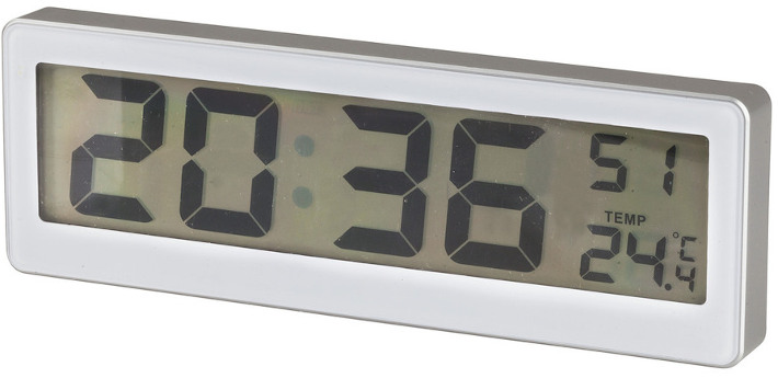 LCD Wall Clock with Thermometer