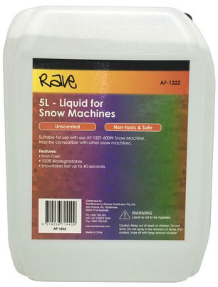 Photo of a five litre bottle of liquid for snow machines.