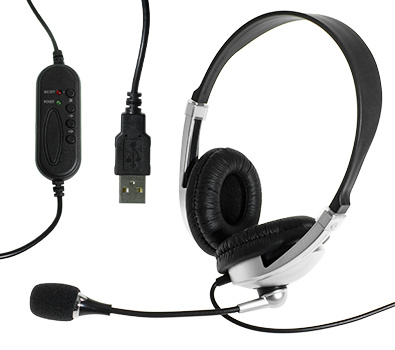 PC Headset with Microphone and In-Line Volume Control