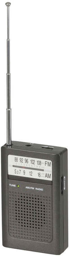 Photo of a portable AM and FM transistor radio.