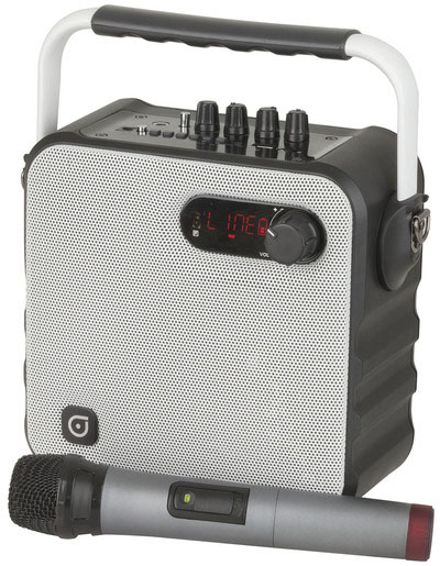 Photo of a portable wireless UHF PA system with microphone.