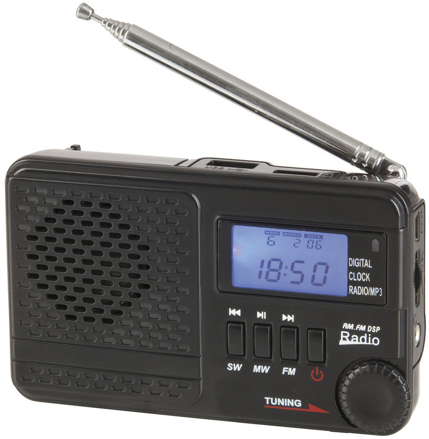 Photo of am AM, FM and SW rechargeable radio with an MP3 player.