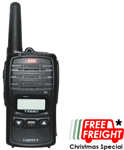 Photo of a 1W UHF handheld radio. Free freight Christmas special 2018.