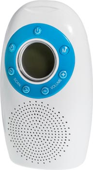 Photo of a water resistant FM shower radio.