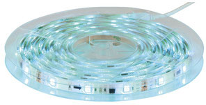 Photo of an RBG LED flexible strip lighting kit with a silvery blue effect.
