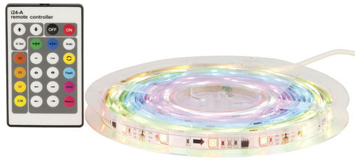 Photo of an RBG LED flexible strip lighting kit with effects.