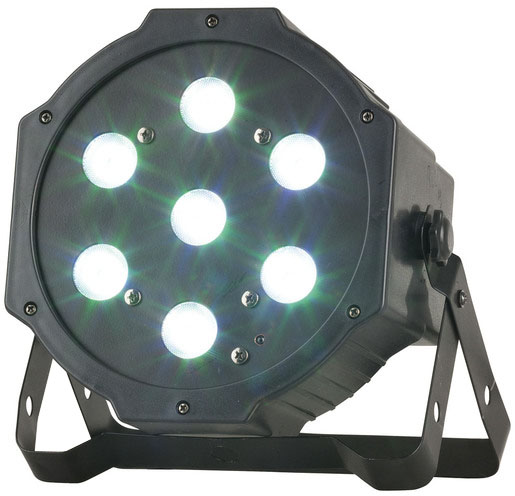 Photo of a 7 by 4 watt RGB (red/green/blue) LED (light emitting diode) par stage light.