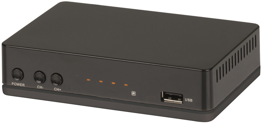 Photo of a 12VDC 1080 pixel high definition set top box that features USB recording.