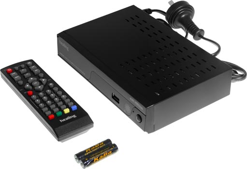 Photo of a HD DVB-S2 set top box with USB recorder and remote control.