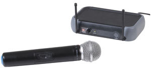 Photo of a single channel wireless UHF microphone.