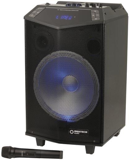 Photo of a 12 inch rechargeable PA speaker with wireless microphone.