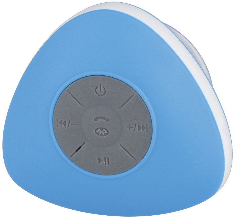 Photo of a waterproof bluetooth shower speaker.