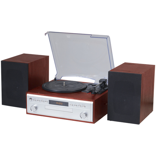 Photo of a stereo hi-fi turntable with a CD player.