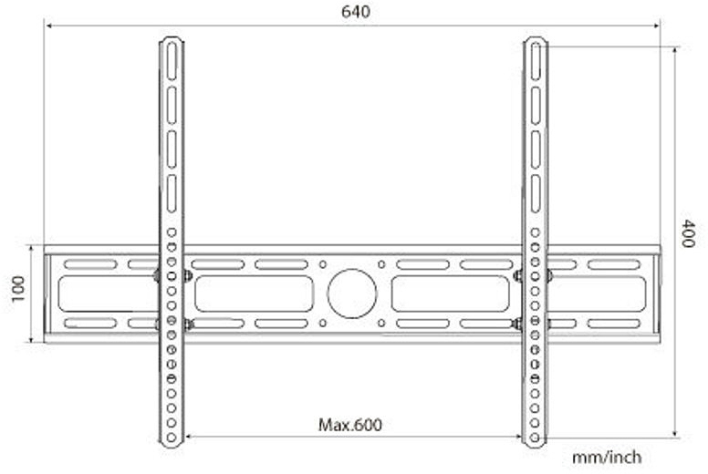 Dimensional illustration of an economy ultra-thin LCD TV wall mount with a 10 degrees tilt.