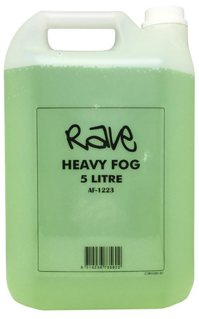 Photo of a 5 Litre container of water-based fog machine liquid.