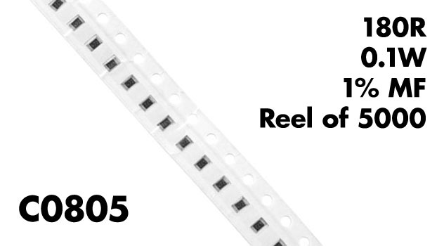 180r c0805 smt resistors 0 1w 1  mf  reel of 5000