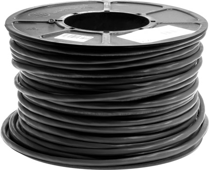 Photo of a 100m roll of black 25 core shielded data cable.