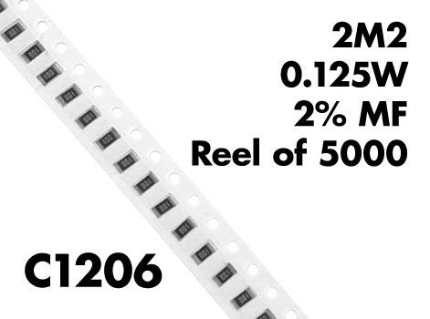 <p>2M2 C1206 SMT Resistors 0.125W 2% MF (Pack of 100)</p>