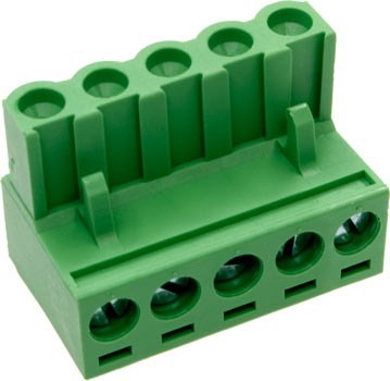 Photo of a 5-way plug with 5.08mm spacing.