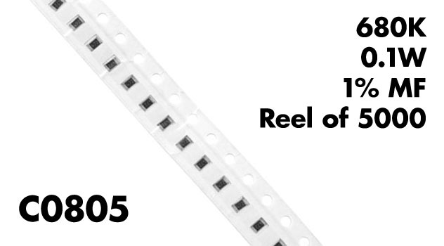 680k c0805 smt resistors 0 1w 1  mf  pack of 100