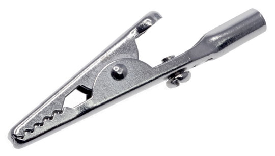 Photo of a screw on connection alligator clip.
