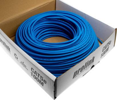 Photo of a 100m roll of CAT5e blue shielded data cable.