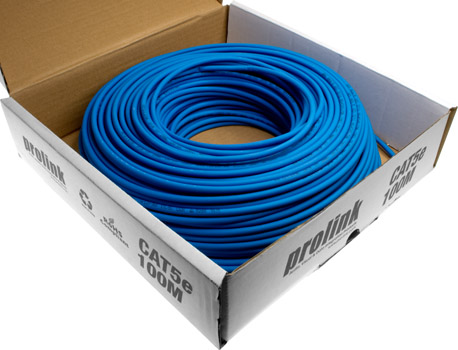 Photo of a 100m roll of CAT5e blue solid conductor data cable.