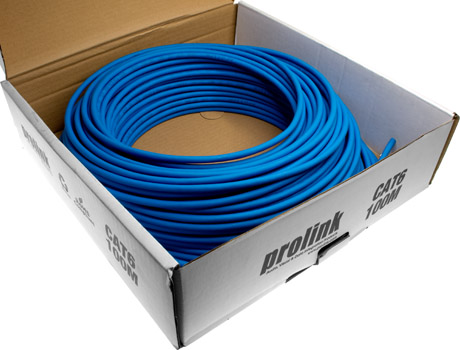 Photo of a 100m roll of CAT6 blue UTP data cable.