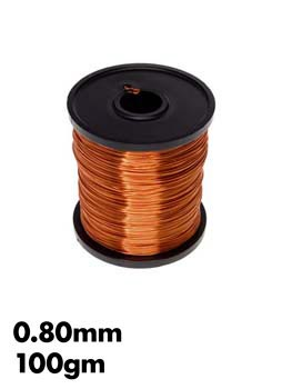 Photo of a 100g roll of 0.80mm enamel copper wire.