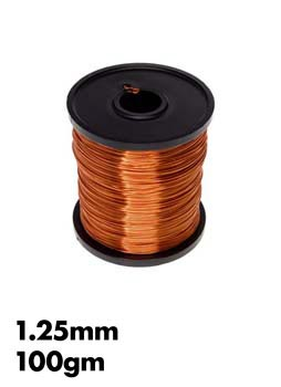 Photo of a 100gm roll of 1.25mm enamel copper wire.