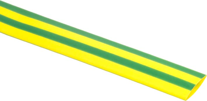 Photo of a 10 mm diameter green and yellow heat shrink tubing 1.2 m.