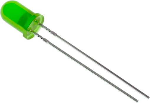 Photo of a 5mm green LED.