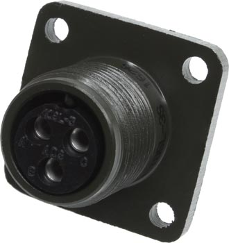 Photo of the front of an MS3102A10SL-35 3 contact female panel connector.