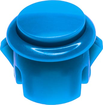 Photo of a 30mm diameter blue push button switch.