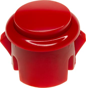 Photo of a 30mm diameter red arcade push button.