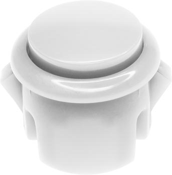 Photo of a 30mm diameter white arcade push button switch.