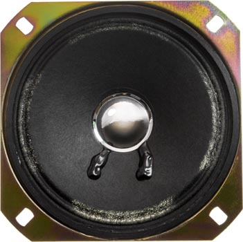 Photo of a 4 ohm and 2 watt speaker with a 100mm diameter.