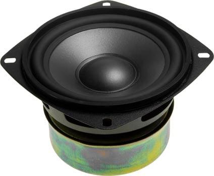 Photo of a 100mm 15W woofer speaker.