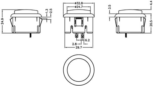 Dimension illustration of a 30mm diameter arcade push button switch.