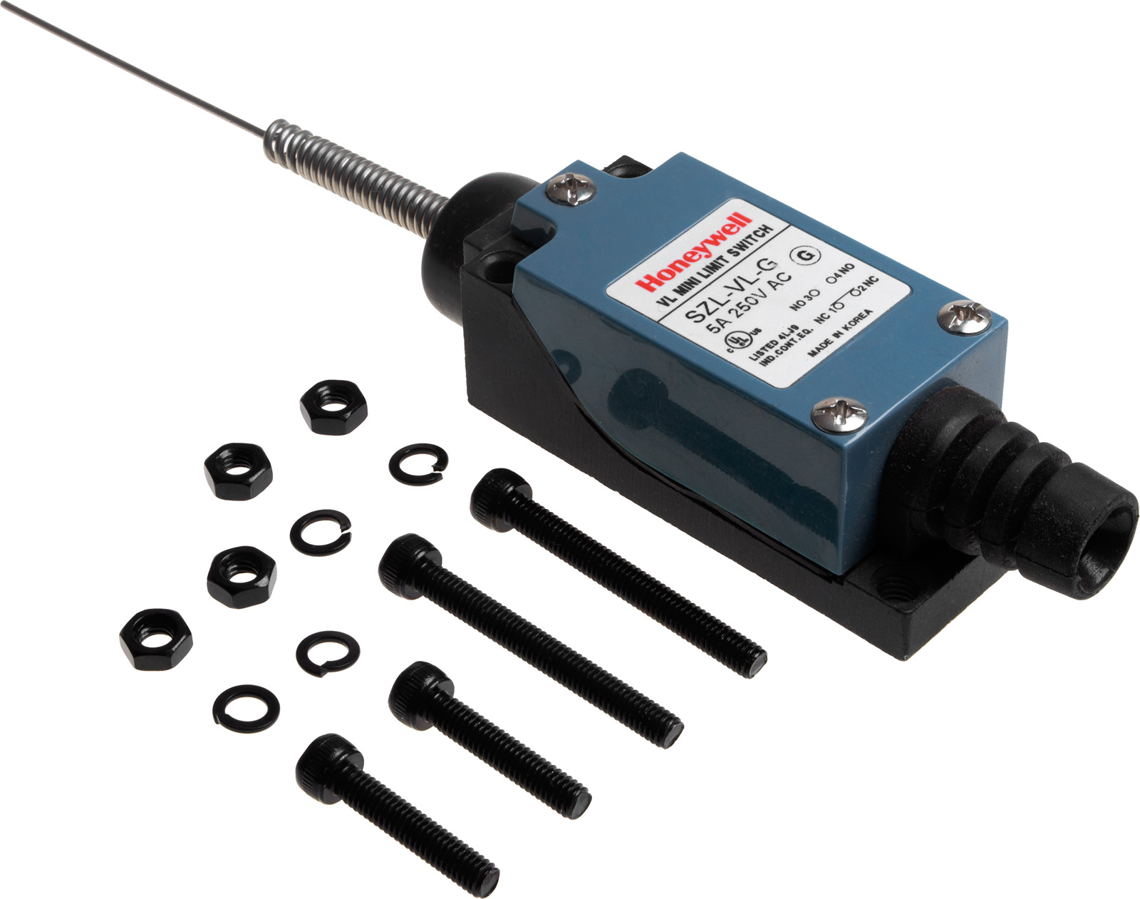 Photo of a Honeywell SZL-VL-G limit switch with wobble wire actuator and the included components.