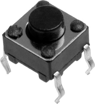 Photo of a 6mm by 6mm single pole single throw (SPST) tactile switch.