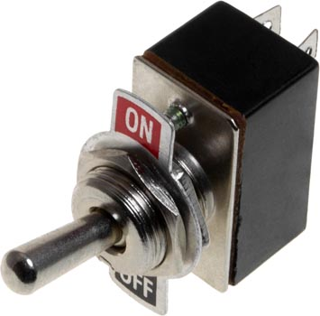Photo of a 2 amp 250 volt single pole single throw (SPST) toggle switch.