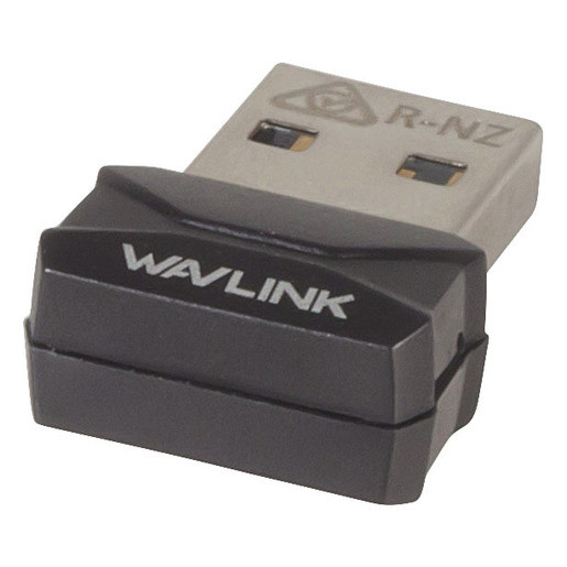 Silver and black dongle with wavlink written on the top