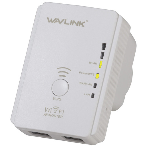 Photo of an N300 Wi-Fi range extender.